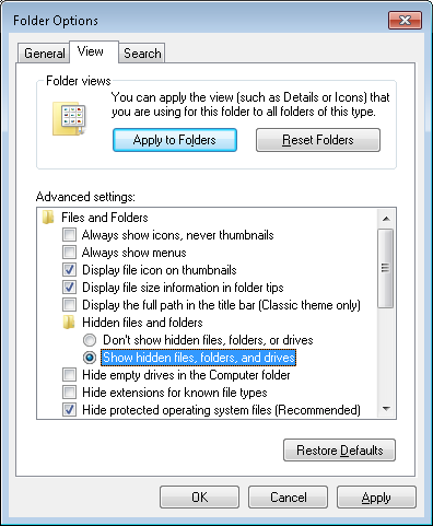 Folder Options (Windows 7)