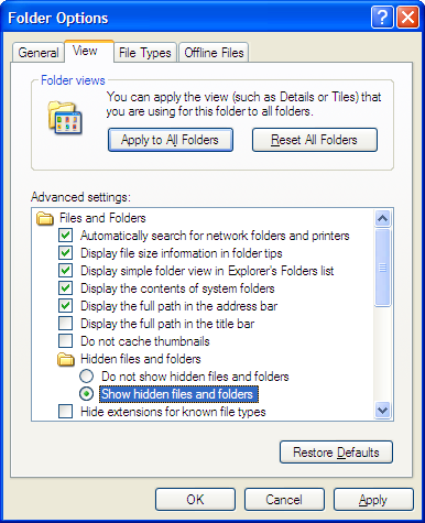 Folder Options (Windows XP)