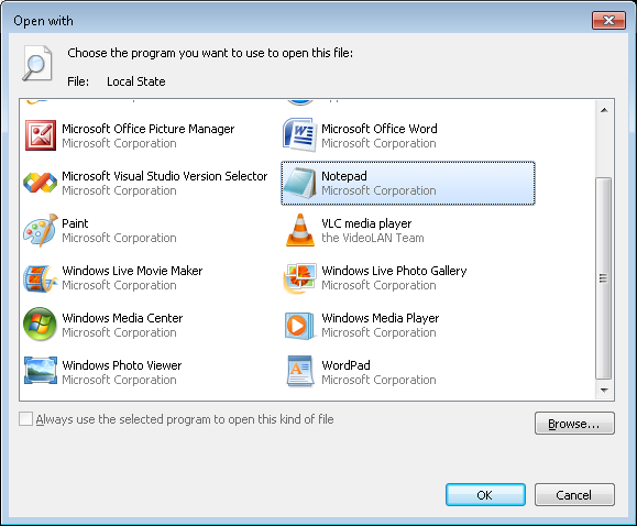 Open With... Dialog (Windows 7)